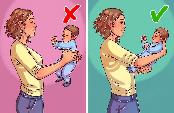 Tenere il bambino sotto le ascelle