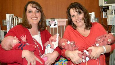 Photo of Sorelle gemelle identiche danno alla luce due coppie di gemelli