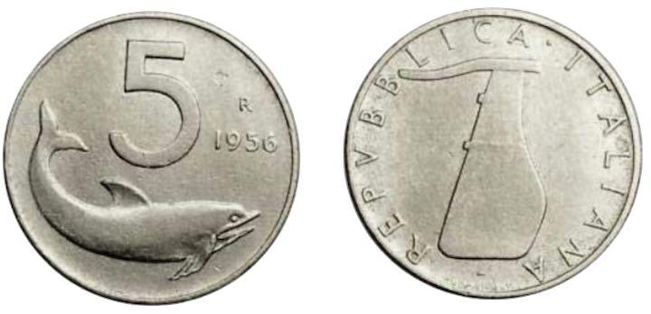 Moneta a 5 lire del 1956