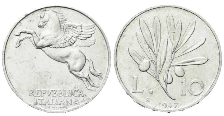 Moneta da 10 lire del 1947