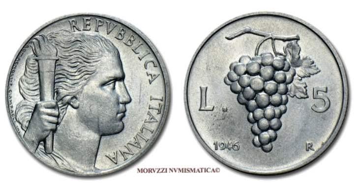 Moneta da 5 lire del 1946