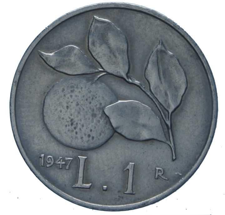 """Moneta del 1947 con """"l'arancia"""""""