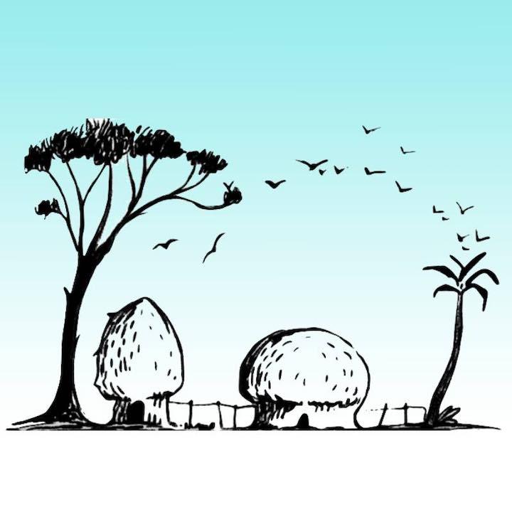 Cosa vedi uccelli , alberi o capanne