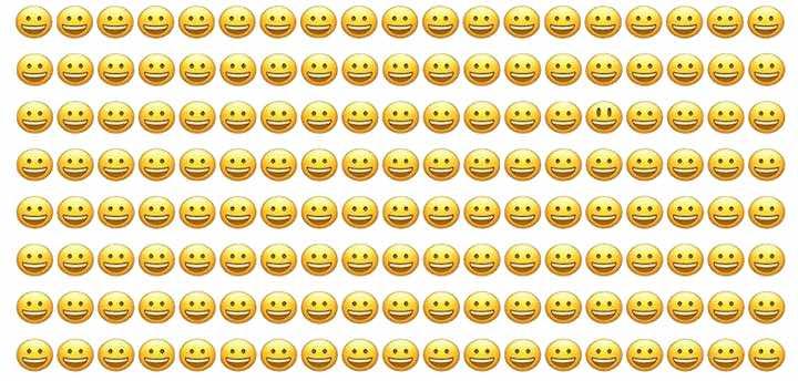 Individua la diversa faccina sorridente nell'immagine qui sotto
