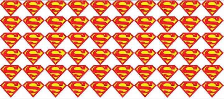 Trova il diverso logo di Superman nella seguente immagine